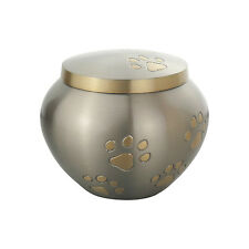 Golden Paws Pet Urn in Silver for Dog Cat Cremation Ashes Cremains
