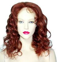 Human Hair Full Lace Wig Glueless Remi Remy Indian Long Auburn Red Curly