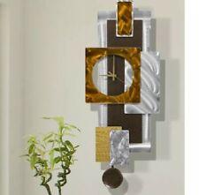 Large Modern Metal Wall Pendulum Clock Art Silver Copper Decor Artist Jon Allen