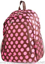 """Personalized Backpack Book Bag Polka Dots Pink Brown Initial(s) Name Free 16x12"""""""