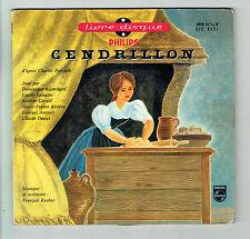 "CENDRILLON Disque 45T 7"" EP Livre Charles PERRAULT Enfant PHILIPS 9151 RARE"