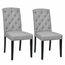 Set of 2 Linen Fabric Wood Accent Dining Chair Tufted Modern Living Room Gray