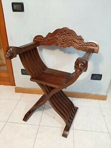 Vintage Italian Folding Wood Chair Savonarola LION HEADS Hand Carved Walnut HOME