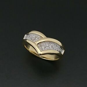 Solid 18ct 750  2 Tone Gold V Style Diamond Pave Set Ring