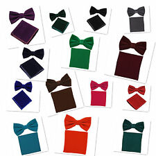 Men's Velvet Solid Pretied Butterfly Bow Tie And Pocket Sqaure Hanky Set