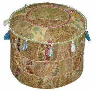 Indian Pouf Ottoman Multi Color square Fabric Hassock  Floor Pouffe 100% Cotton