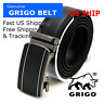 Men's Designer Black Leather Dress Belt Sliding Ratchet Automatic Click Buckle