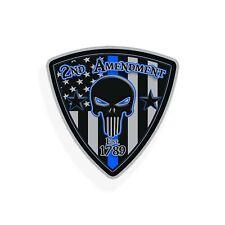 2nd Amendment Skull Sticker Usa Flag Blue Line Police Car Vehicle Window Decal