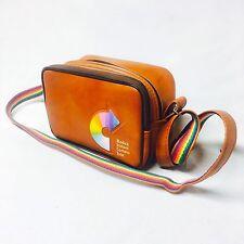 Kodak instant camera tote bag, 2 pockets brown rainbow pride shoulder strap case