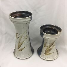 """Pair (2) Ceramic Candle Holders Of Different Sizes 3.5"""" Diameter Candles-Look!"""