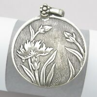 Vtg Antique Art Nouveau Deco Silver Flower Iris Slide Double Locket Pendant