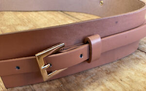 Cos Wide & Thin Tan Brown Double Waist BELT Faux LEATHER 32 34 36 38 Adjustable