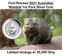 **Pre-Sale** 2021 Australia Wombat 1oz Pure Silver Coin Limited to 25,000 coins