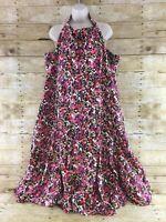 Lane Bryant Halter Sun Dress Womens Size 26 Sleeveless Linen Rayon Smocked Midi