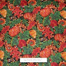 Fall Fabric Harvest - Indian Corn Pumprkin Acorn Leaves - Cotton Quilting YARDS