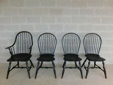 Custom Black Distressed Finish Windsor Style Hoop Back Chairs - Set of 4