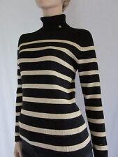 Ralph Lauren Black/W Gold Stripes Ribbed Turtleneck Sweater- XLarge- NWT