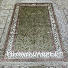 Yilong 4'x6' Green Handwoven Silk Area Rug Small Oriental Home Carpet H303B