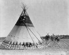NATIVE AMERICAN HORN TEPEE 8X10 PHOTO EDWARD S. CURTIS