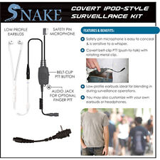 QR Covert SNAKE Ipod-Style Earpiece for Vertex VX Series 2-Way Radios (See List)
