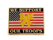 USA Flag Yellow Ribbon We Support Our Troops Military Lapel Hat Pin PPM608