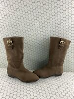 ALDO Taupe Leather Buckled Pull On Mid Calf Boots Women's Size 8.5