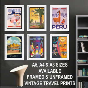 VINTAGE TRAVEL POSTERS PRINTS A3 A4 A5 Size Retro Framed Home Wall Art Decor