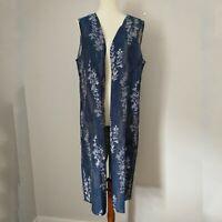 Soft Surroundings Long Floral Vest Large Split Back Tapestry Soft Denim Baroque