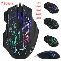 Adjustable 3200DPI 7 Buttons USB Wired Optical Gaming Mouse with LED Game Mice