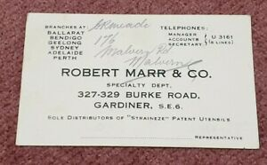 VINTAGE BUSINESS CARD ROBERT MARR & CO GARDINER DOUBLE SIDED