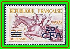 REUNION / FRANCE 1954 EQUESTRIAN SPORTS SC#300 MH FULL OG CV$80.00 HORSES (R-AL)