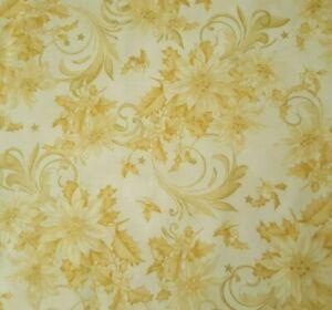 Festive Elegance BTY Studio 8 VIP Golden Tan Poinsettias Metallic Gold Stars