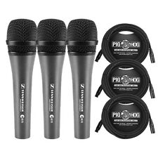 Sennheiser e 835 Dynamic Lead Stage Vocal Microphone 3-Pack w/ 20 ft XLR Cables