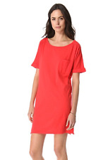 VELVET By Graham & Spencer Fudge Boat Neck Short Sleeve Shirt Dress Red S $99