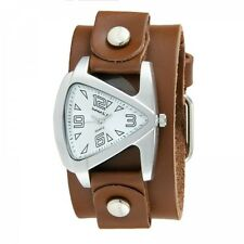 Nemesis Silver Small Triangle Ladies Watch w/ Brown Leather Cuff Band Vintage