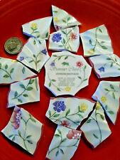 """ Summer Chintz "" Broken China Plate Mosaic Tiles Jo Bros Rims Floral Garden"