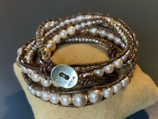 Chan Luu Champagne Faux Pearl and Leather 5 Wrap Bracelet Sterling Clasp