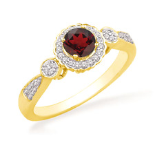Garnet and Diamond Ring 10K Yellow, White or Rose Gold Band January Birthstone