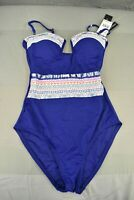 La Blanca Milano Bandeau Embroidered One-Piece Swimsuit, Women's Size 4 Blue NEW