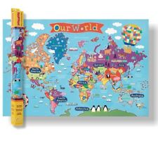 """OUR WORLD Kid's Laminated Large Map W36""""xH24"""" by Round World NEW in Package"""