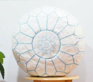 WHITE Moroccan POUF* Boho** with blue Stitching Leather Pouf ottoman pouf morroc