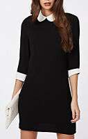 Monochrome Peter Pan Collar 3/4* Short Sleeve Black Skater Block Shift Dress