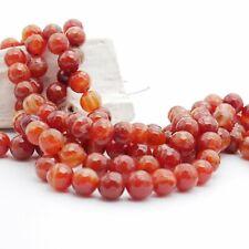 NELLYS Sardonyx (kein Achat) orange-rot weiß  Perlen Strang Edelsteine fac.