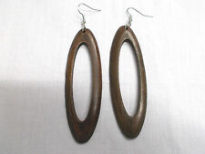 NEW ELEMENT DARK BROWN COLOR STAINED WOOD DANGLING LONG OVAL HOOP STYLE EARRINGS