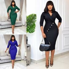 Sexy Bodycon Dresses Package Hip Dress Office Ladies African Femal Plus Size
