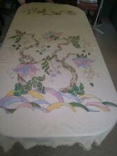 Antique Cotton Bedspread pastel stencil with black thread outline full Columbia