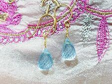 aquamarine briolette gemstone earrings natural drop dangle fine 14k yellow gold