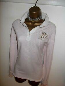 'Exquisite' RALPH LAUREN pink and white long sleeved blouse polo shirt top UK 14
