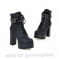Damen Block High Heel Shoes Schuhe Plateau Freizeit Punk Stiefeletten Stiefel