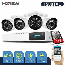 H.View CCTV Security Camera System 4CH 720P AHD DVR Kit Outdoor 1.0MP Cameras 1T